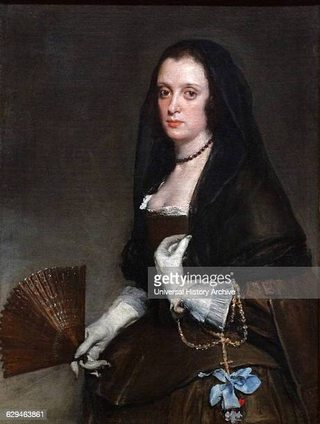 Painting titled 'The Lady with a Fan' by Diego Velázquez a Spanish painter and leading artist for the Court of King Philip IV Dated 17th Century