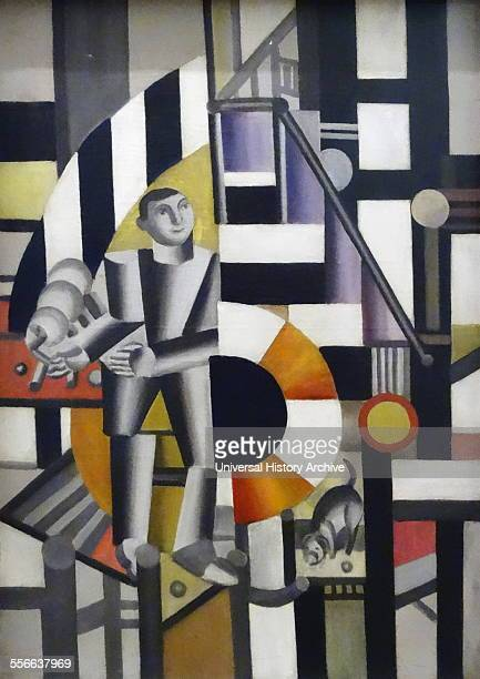 Painting titled 'The Man with the Pipe' by Fernand Léger French painter sculptor and filmmaker Dated 1920