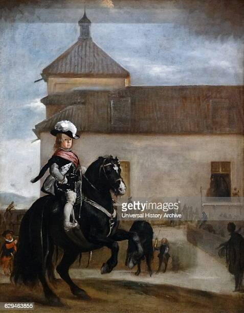 Painting titled'Prince Baltasar Carlos in the Riding School' by Diego Velázquez a Spanish painter and leading artist for the Court of King Philip IV...