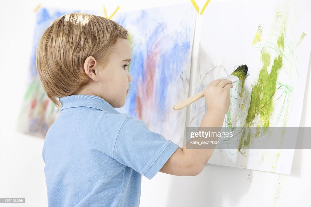 Painting toddler : Stock Photo