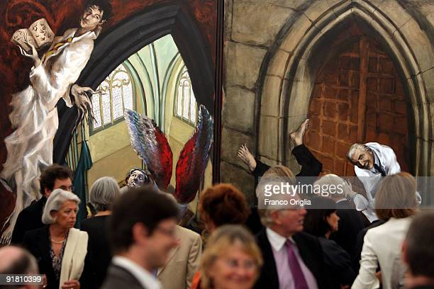 Paintings by Gerard Garouste are shown at the French Academy of Villa Medici during the Gerard Garouste Exhibition dinner on October 12 2009 in Rome...