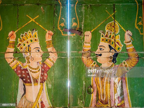 Paintings in Jain temple Bhandreshwar Bikaner India