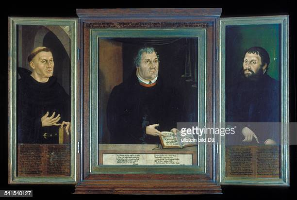 Paintings Luther Martin *1011148318021546 Reformer Germany Triptych by Lucas Cranach the Younger and the Elder at Weimar City Church 1572
