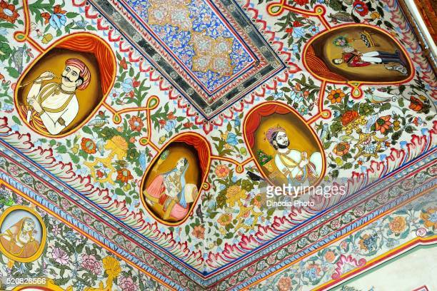 Paintings of royal person and deity on ceiling of haveli, Fatehpur, Shekhawati, Rajasthan, India