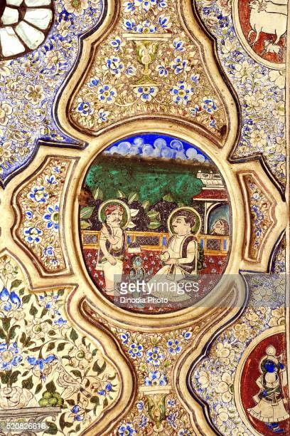 Paintings of royal person on ceiling of haveli, Fatehpur, Shekhawati, Rajasthan, India