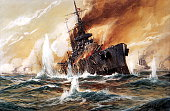 Paintings of World War I Battle of Jutland Sinking hit British battlecruiser 'Indefatigable' shortly before its explosion on tempera painting by...