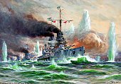 Paintings of World War I Battle of Jutland warships of the High Seas Fleet in combat painting by Willy Stwer 1925 1916 Photographer ullstein Willy...