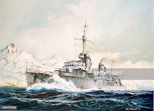 Paintings of World War II German destroyer Erich Koellner in the Narvik Fjord pursuing British units gouache by Olaf Rahardt 2002 Photographer...