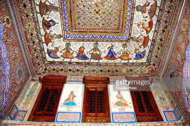 Paintings on ceiling of haveli, Fatehpur, Shekhawati, Rajasthan, India