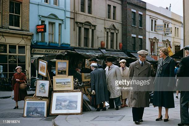 Paintings on sale at the Portobello Road Market London 1955