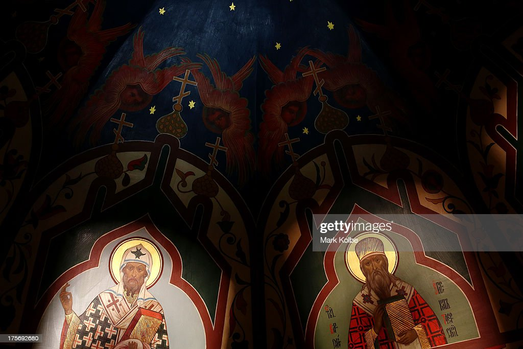 Paintings on the roof are seen inside St Basil's Cathedral in Red Square ahead of the IAAF World Championships on August 6, 2013 in Moscow, Russia.