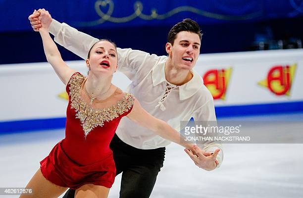 Pair Alessandra Cernuschi and Filippo Ambrosini of Italy perform their free skating program routine during the ISU European Figure Skating...