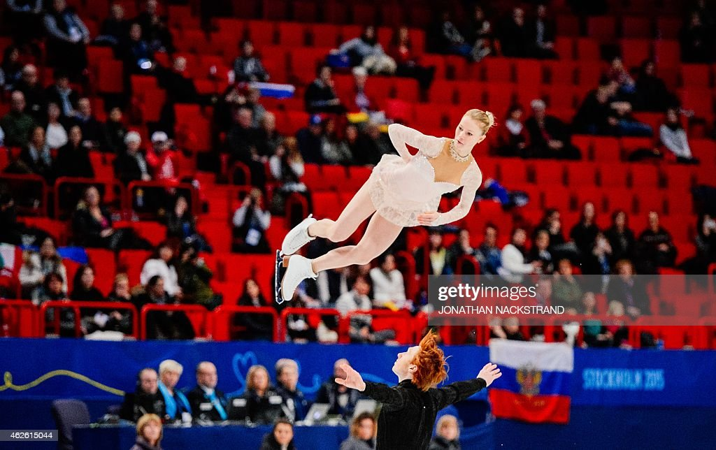 Pair Evgenia Tarasova and <a gi-track='captionPersonalityLinkClicked' href=/galleries/search?phrase=Vladimir+Morozov&family=editorial&specificpeople=6614710 ng-click='$event.stopPropagation()'>Vladimir Morozov</a> of Russia perform their free skating program routine during the ISU European Figure Skating Championships on February 1, 2015 in Stockholm, Sweden. AFP PHOTO / JONATHAN NACKSTRAND