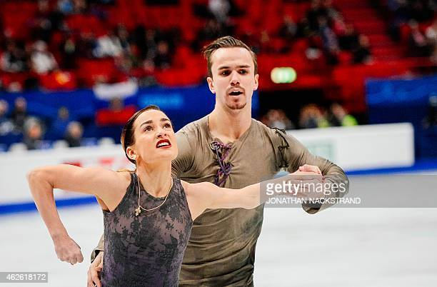 Pair Ksenia Stolbova and Fedor Klimov of Russia perform to place second at the free skating program routine during the ISU European Figure Skating...