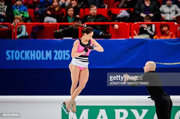 Pair Mari Vartmann and Aaron Van Cleave of Germany perform their short program routine during the ISU European Figure Skating Championships on...