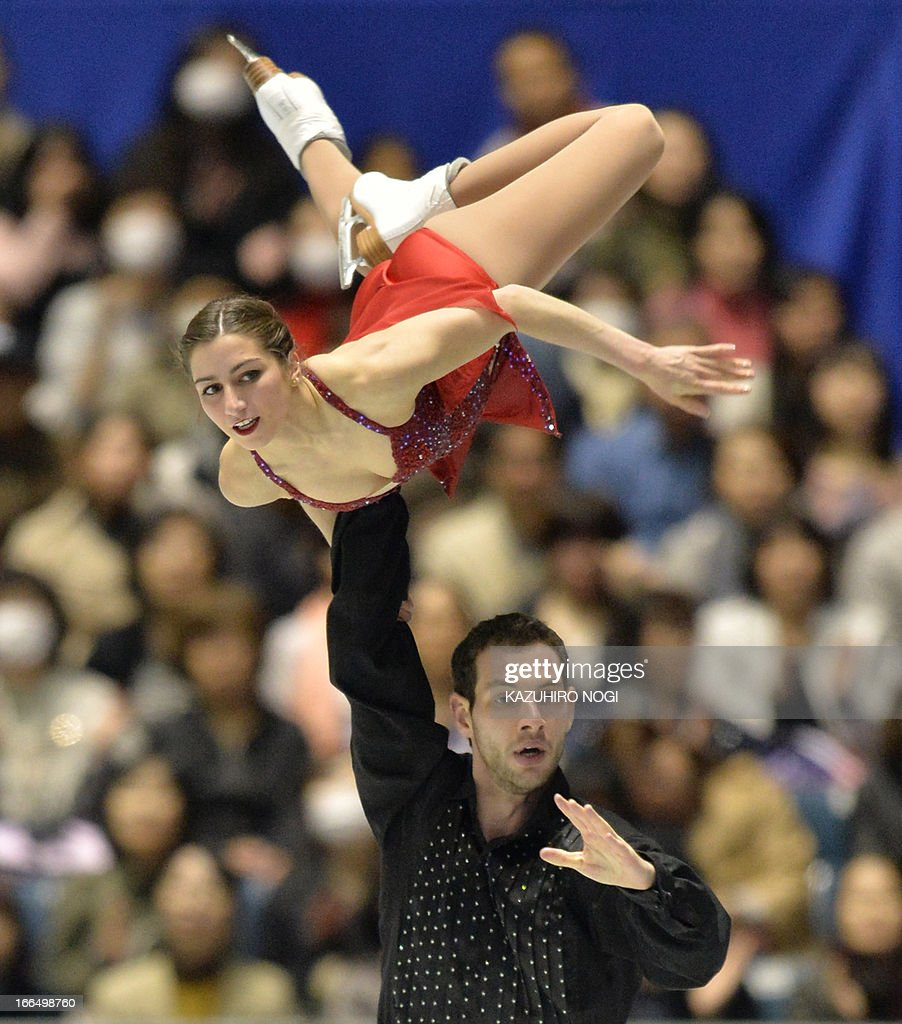 US pair, Marissa Castelli (top) and Simon Shnapir perform in the pairs free skating at the World Team Trophy figure skating competition in Tokyo on April 13, 2013.