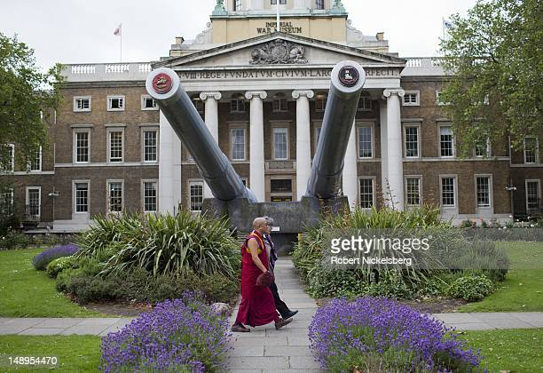 A pair of 15' naval guns from the British battleships HMS Rodney and HMS Ramilles are positioned July 3 2012 in the front garden of the Imperial War...