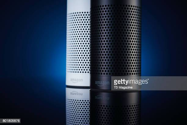 A pair of Amazon Echo multimedia smart speakers taken on November 28 2016