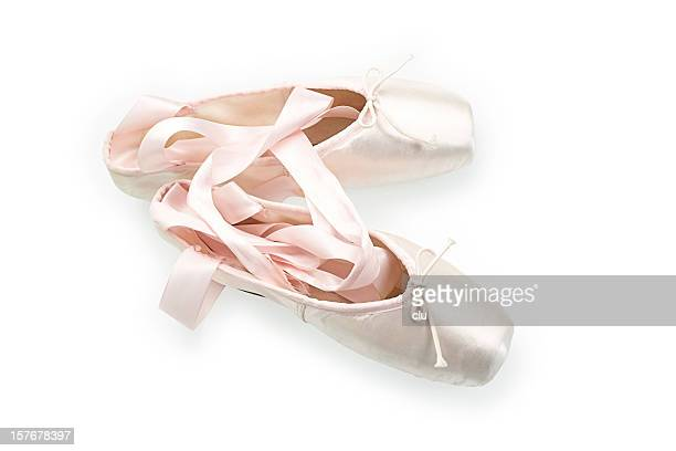 Pair of ballet slipers isolated on white background