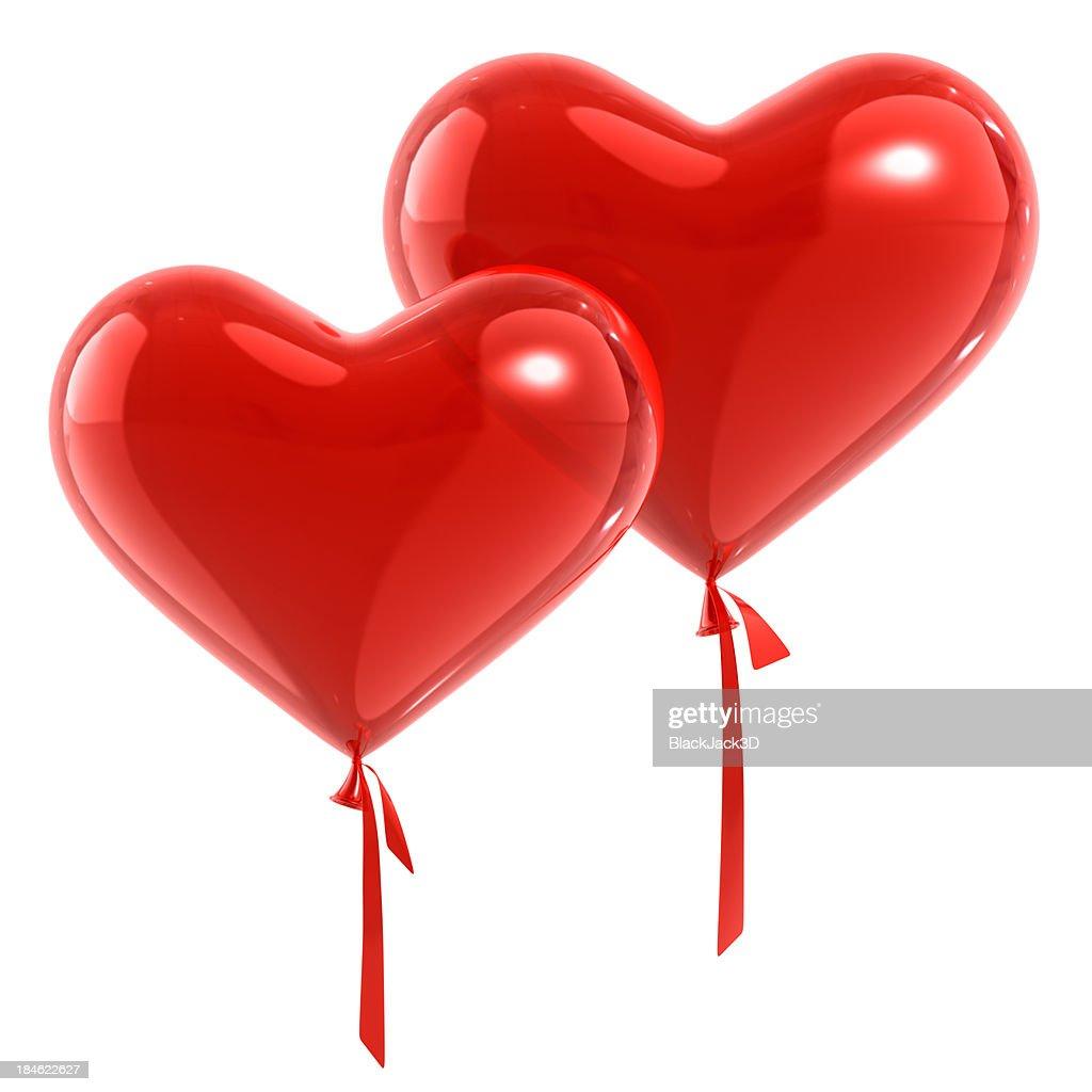 Pair Of Balloons Hearts. : Stock Photo