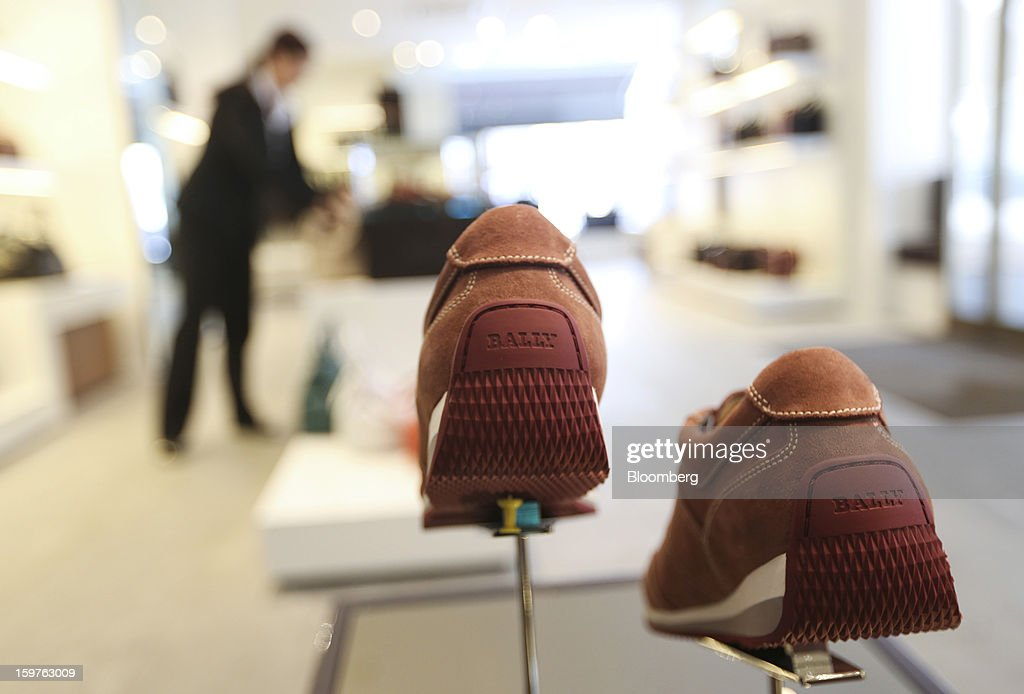 A pair of Bally branded shoes, produced by Bally the Swiss luxury brand, are seen on display at their store in the town of Davos, Switzerland, on Saturday, Jan. 19, 2013. Next week the business elite gathers in the Swiss Alps for the 43rd annual meeting of the World Economic Forum in Davos, the five day event runs from Jan. 23-27. Photographer: Chris Ratcliffe/Bloomberg via Getty Images