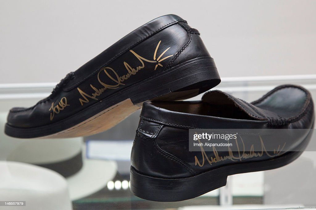 A pair of black leather loafers signed by singer Michael Jackson on display during the Music Icons And Sports Legends Memorabilia Auction Press Call at Julien's Auctions Gallery on June 18, 2012 in Beverly Hills, California.