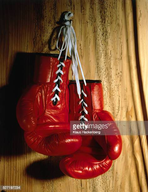 Pair of boxing gloves hangign on wall