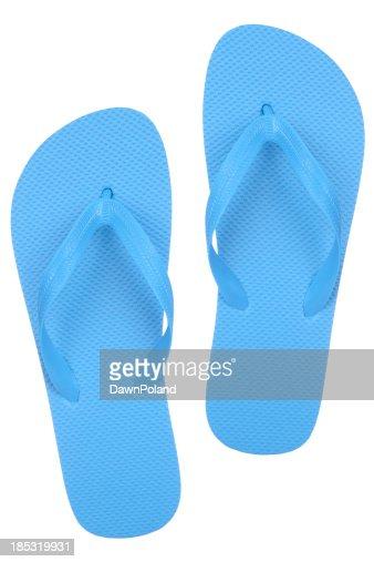 A pair of cheap blue flip flops