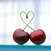 Pair of cherries with heart shaped stem, close-up