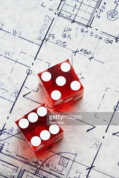 Pair of dice on blueprint