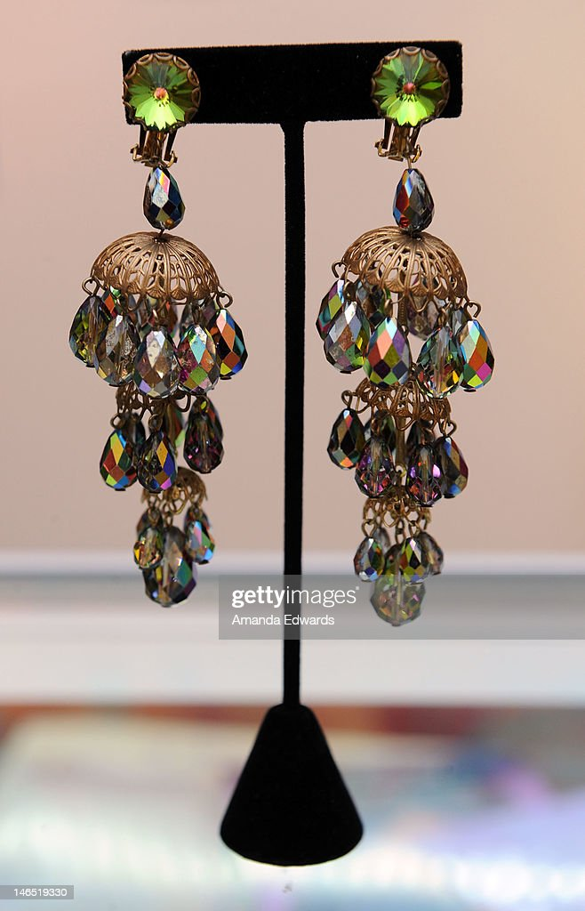 A pair of earrings worn by singer Whitney Houston in 'The Bodyguard' is displayed at the Julien's Auctions press call for Music Icons And Sports Legends Memorabilia Auction at Julien's Auctions Gallery on June 18, 2012 in Beverly Hills, California.