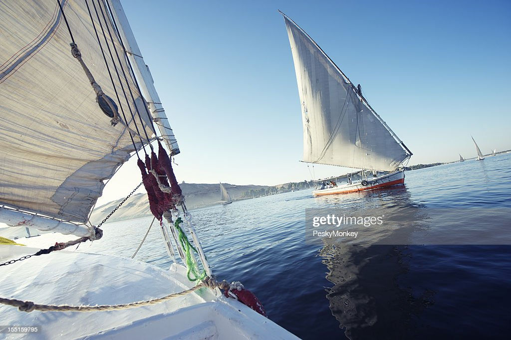 Pair of Egyptian Felucca Boats Sail Together on the Nile