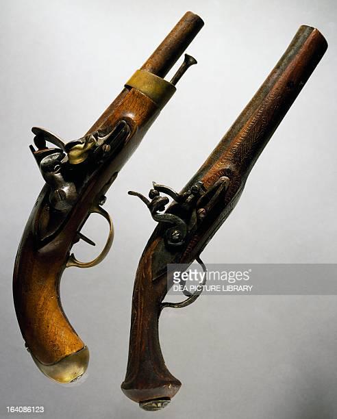 Pair of flintlock coachman's pistols Italy 19th century Rome Museo Storico Delle Poste E Telecomunicazioni