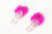 Pair of fluffy pink slippers