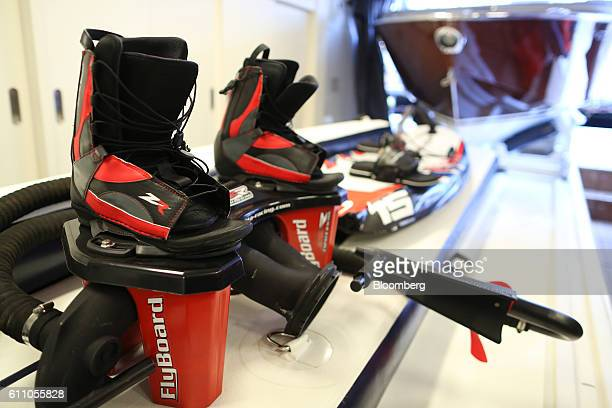 A pair of Flyboard ZR boots manufactured by Zapata Racing sit on display onboard the Fast Furious yacht support vessel during the Monaco Yacht Show...