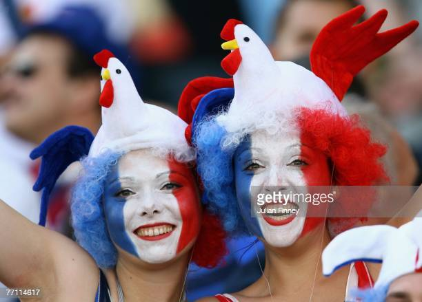 A pair of France fans show their support prior to Match Thirty Eight of the Rugby World Cup 2007 between France and Georgia at the Stade Velodrome on...