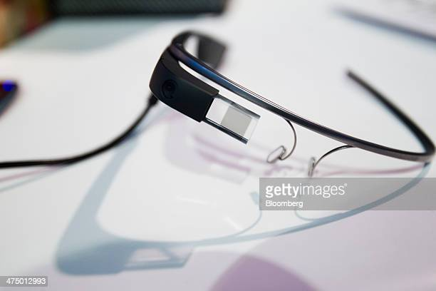 A pair of Google Glass connected glasses sits on display on day three of the Mobile World Congress in Barcelona Spain on Wednesday Feb 26 2014 Top...