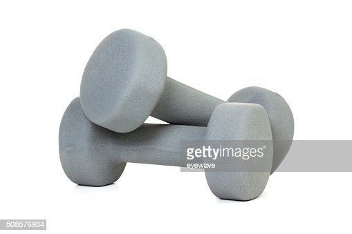 Pair of grey dumbbells isolated : Stock Photo