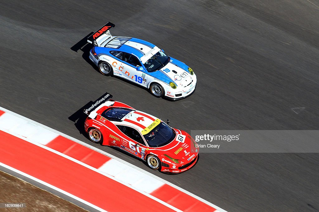 A pair of GT cars races through a turn during practice for the Grand-Am of the Americas at Circuit of The Americas on March 1, 2013 in Austin, Texas.