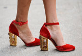 A pair of heels are seen outside the Calvin Klein show on September 11 2014 in New York City