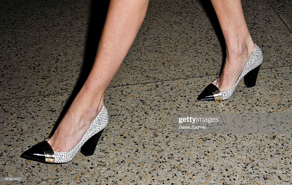 A pair of heels seen outside the Oscar de la Renta show on February 12, 2013 in New York City.