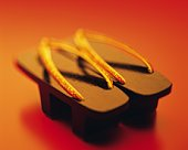 A pair of Japanese sandals, Close Up, High Angle View, Toned Image, Differential Focus