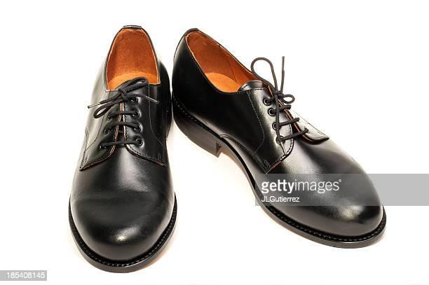 A pair of men's black dress shoes