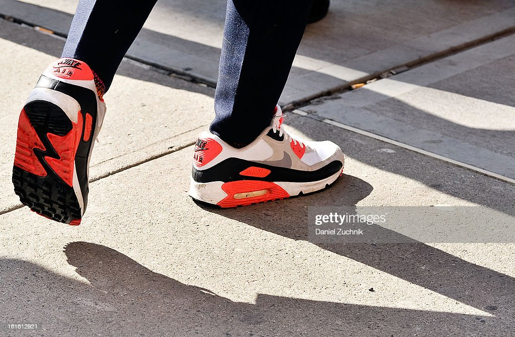 A pair of Nike shoes outside the Perry Ellis by Duckie Brown show on February 12, 2013 in New York City.