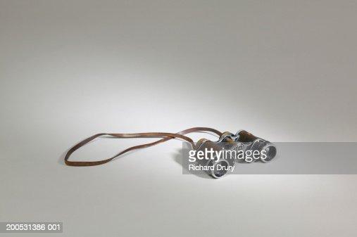 Pair of old fashioned binoculars : Stock Photo