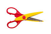 top view of a pair of red colored plastic open scissors isolated on white background