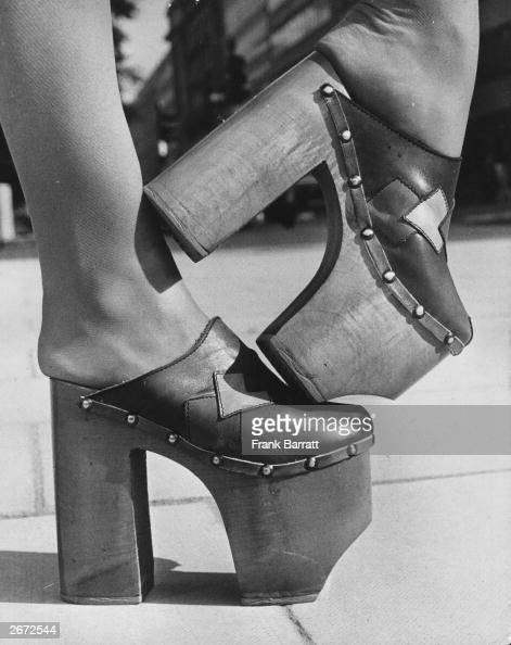 A pair of platform shoes with eight inch heels on display at the Spring Shoes Exhibition in London