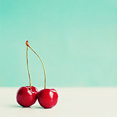 Pair of red cherries