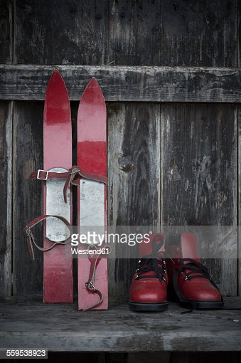 ski bench skis and ski boots stock photo getty images