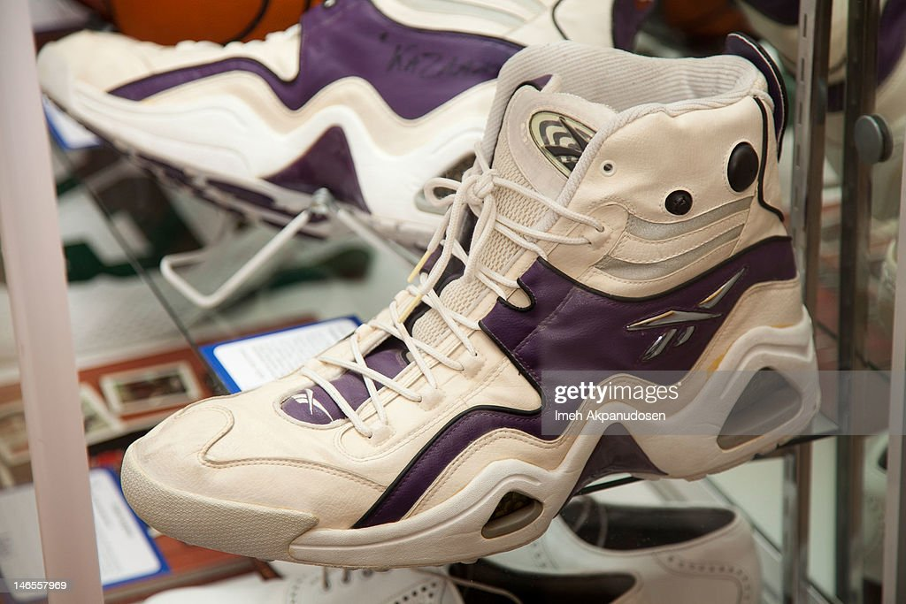 A pair of Reebok custom basketball shoes worn and signed by Shaquille O'Neal on display during the Music Icons And Sports Legends Memorabilia Auction Press Call at Julien's Auctions Gallery on June 18, 2012 in Beverly Hills, California.